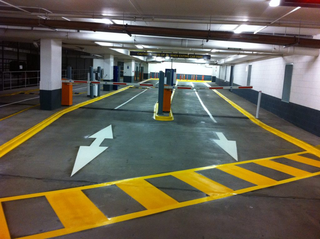 image of line markings at the Underground car park in Melbourne cbd