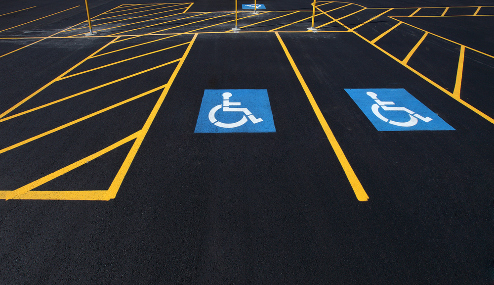 image of line markings for a handicapped parking stall in a parking lot