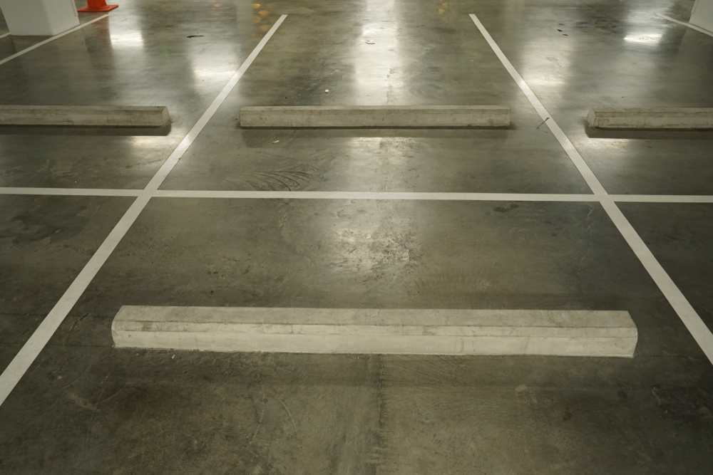 image of a Concrete Wheel Stop in a car park